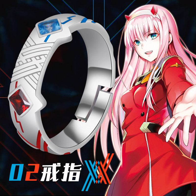 Anime Darling in the franxx ZERO TWO 02 925 Sterling Silver Ring Jewelry Adjustable Unisex Cosplay Xmas Gift