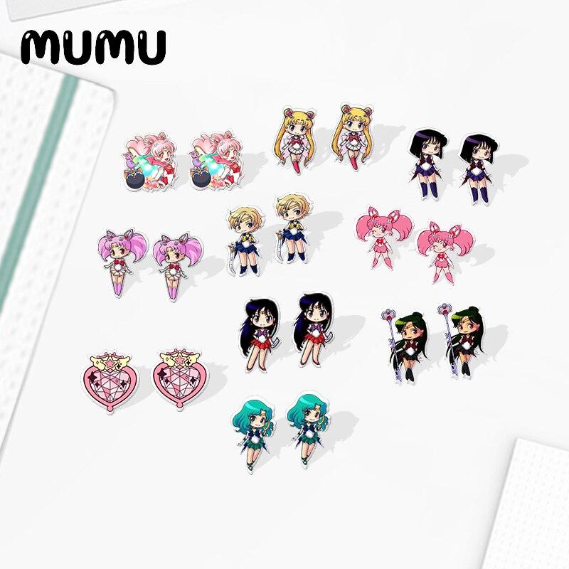 2020 New Cute Sailor Moon Earring Sailor Mars Mercury Jupiter Venus Acrylic Earring Resin Stud Earrings Epoxy Jewelry