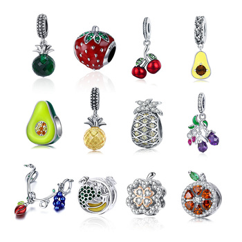 Authentic 925 Sterling Silver Cute Fruit Beads Charms Fit Original Design Bracelet Dangle DIY Pendant Jewelry For Women