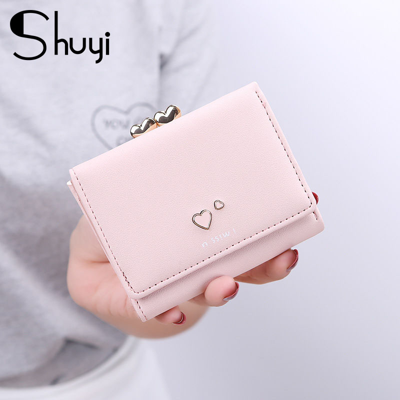 Pink Cute Wallet Female Small Short Purse For Women Coins Leather Lady Wallet Girl Vallet Luxury Design Money Bag Portomonee
