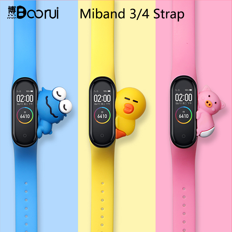 BOORUI Cute Miband 4 Strap Replacement Silicone Mi 4 Band Straps Toy My Band 3 Strap For Xiaomi Miband 2/3/4 Band Accessories