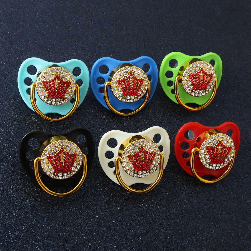 Newest Luxury Red Crown Baby Pacifier Bling Bling Pacifier With Rhinestones Baby Dummy Pacifier Nipple With Protective Cap