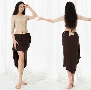Image 5 - Big Size Women Oriental Dance Costume Modal 3 Piece Set Long Sleeve Dance Wear Blouse Side Slit Skirt With Under Pant White XL