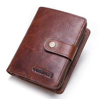 Contact's Genuine Leather Wallets Women Men Wallet Short Small Rfid Card Holder Wallets Ladies Red Coin Purse Portfel Damski 11