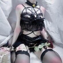 יפני נשים סקסי Cosplay תלבושות הלבשה תחתונה סט רצועות מחוך לילה הלבשת שמלת שד אנימה הלבשה תחתונה