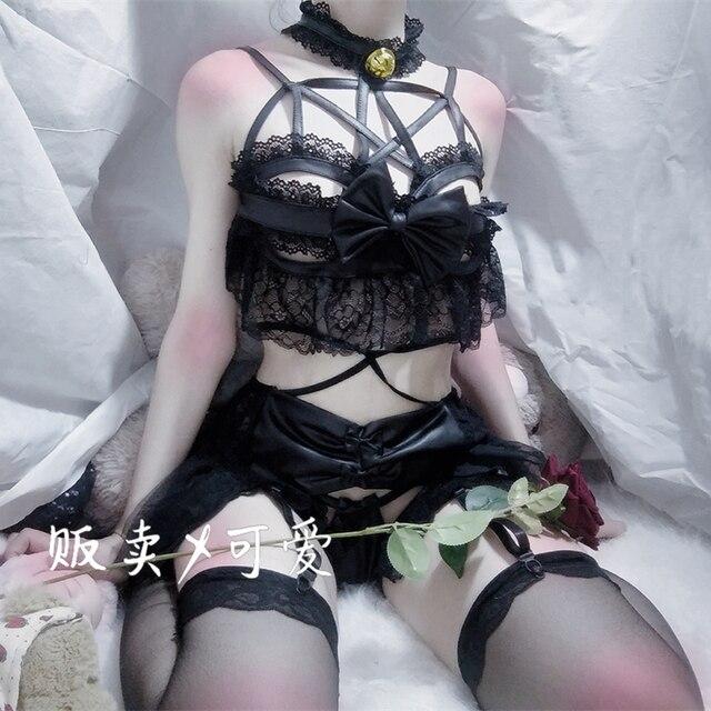 اليابانية المرأة مثير تأثيري حلي مجموعة الملابس الداخلية Strappy مشد ليلة ملابس خاصة الملابس الداخلية فستان شيطان أنيمي الملابس الداخلية