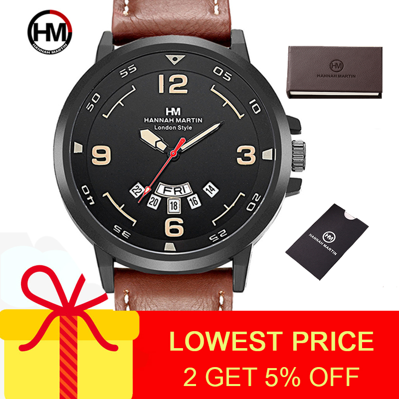 Hannah Martin Men's Watch Sports Watches Luxury Mans Watch Hot Sale Quartz Watches Mens Male Casual Black Watch Men Waterproof