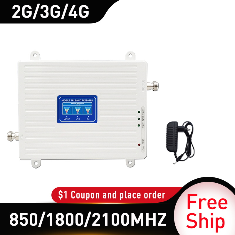 850 1800 2100mhz Mobile Amplifier Tri Band Repeater CDMA  4G Repeater DCS WCDMA 2G 3G 4G Repeater LTE Cellular Signal Booster