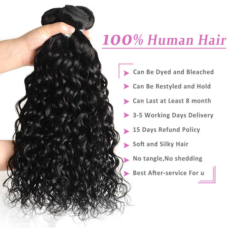 Pinshair Water Wave Bundles with Frontal Natural Peruvian Human Hair Bundles with Closure Non-Remy Lace Frontal with 3 Bundles