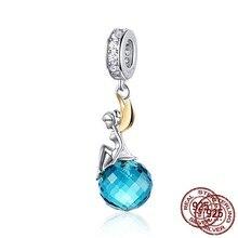 Mowimo 100% 925 prata esterlina fada elf encantos azul contas de cristal caber pulseira de prata original pingente jóias fazendo bnc056