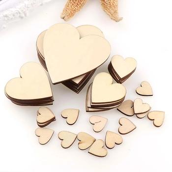 6 rozmiary ślubne puste kawałki drewna dyski ozdoby serca ozdoby rzemiosła DIY tanie i dobre opinie CN (pochodzenie) Niewykończone drewno