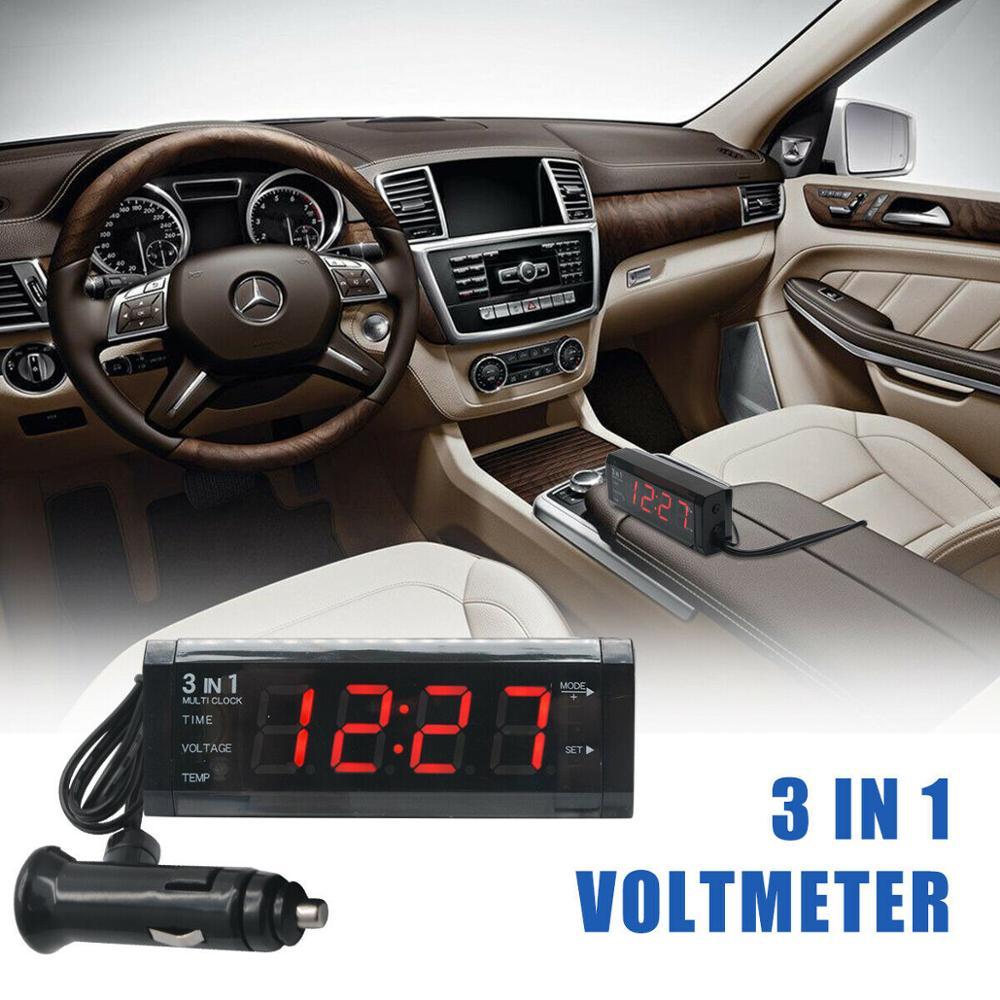 Red LED Digital Display 12V 3in1 Vehicle Car Kit  Thermometer Voltmeter Clock
