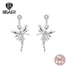 BISAER Stud Earrings Real 925 Sterling Silver Fairy Shape Earrings for Women Clear Zirconia Fashion Anniversary Jewelry HVE144 bisaer stud earrings real 925 sterling silver star shape long earrings for women clear cubic zirconia fashion jewelry hve154