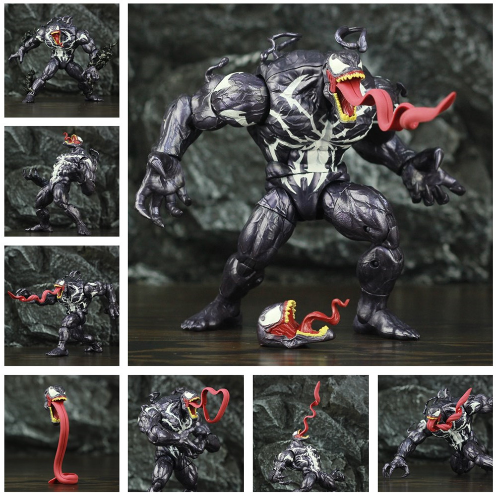 Custom Monster Venom Action Figure Amazing Spider Man Villain KO's Marvel Legends BAF Long Tongue Head Spiderman Toys Doll Model