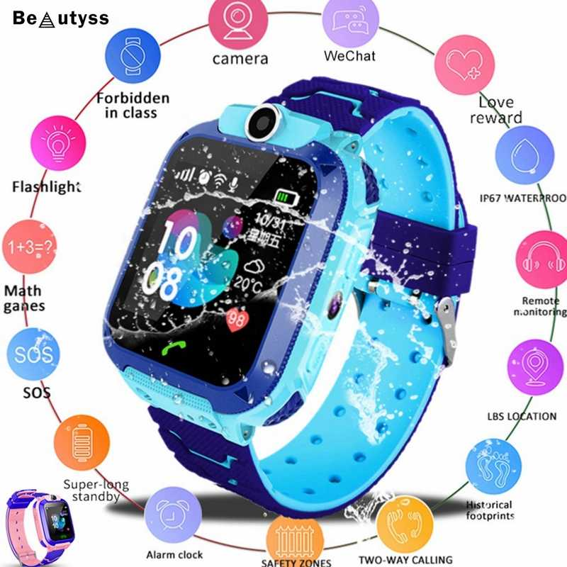 Beautyss Waterproof Kids Smart Watch SOS Antil-lost Children Baby 2G SIM Card Clock Call Location Smartwatch PK Q50 Q90 Q528
