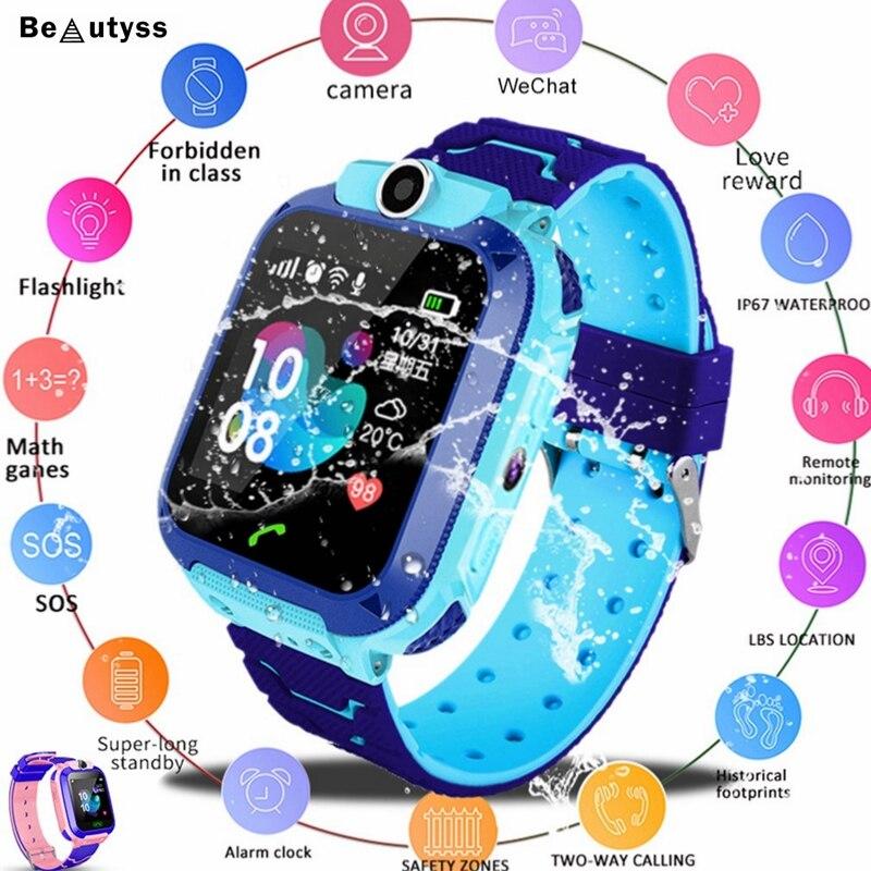 Beautyss Crianças À Prova D' Água Relógio Inteligente SOS Antil-perdida Crianças Bebê 2G Relógio Cartão SIM Local Chamada Smartwatch PK q50 Q90 Q528