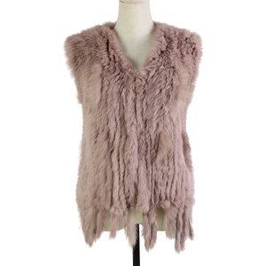 Image 2 - Harppihop*Knit knitted handmade Rabbit fur vest gilet sleeveless garment waistcoat