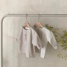 Baby Blouse Shirts MILANCEL Plaid Front-Button Girls Infant Casual