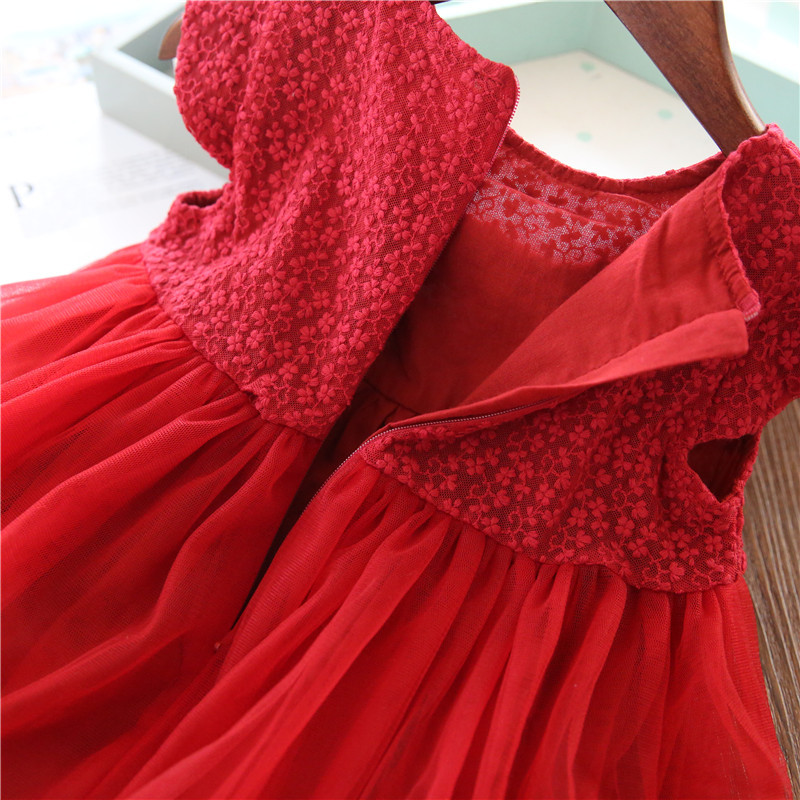 Image 5 - Red Kids Dresses For Girls Flower Lace Tulle Dress Wedding Little Girl Ceremony Party Birthday Dress Children Autumn ClothingDresses   -