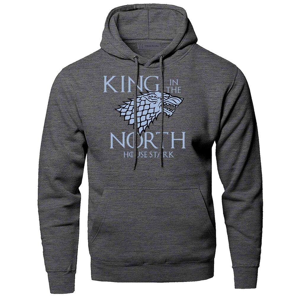 Game of Thrones Hoodies Men King In The North Sweatshirts Hooded Sweatshirt 2019 Winter Autumn House Stark Wolf Hoody Sportswear