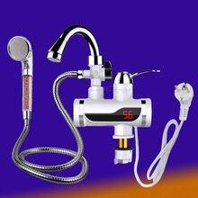 سخان مياه دافئ صنبور المطبخ صنبور LED عرض لحظية سخان مياه دش سخانات فورية Tankless تسخين المياه الحنفية الاتحاد الأوروبي