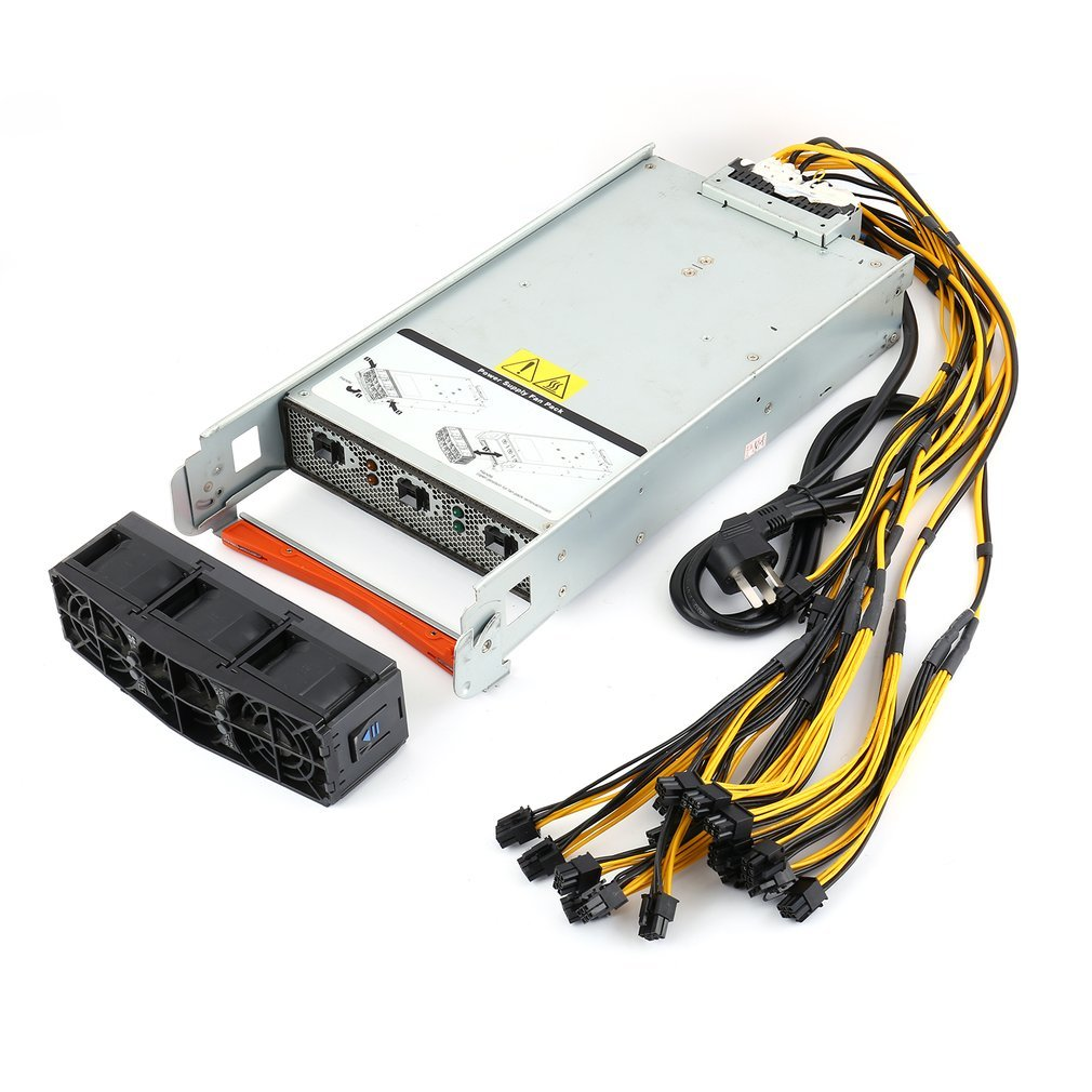 2880 Watt Server PSU + 2x10 PCI E Harness Power Supply for Two (x2) Antminer S9 / S7 / L3+ with Ready To Plug Harness|Plug With Socket| |  - title=