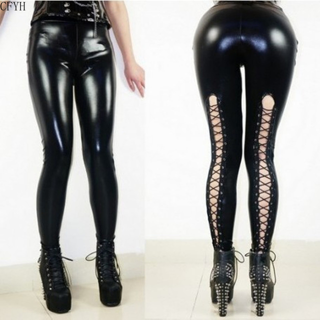 Sexy Latex Faux Leather Legging 4
