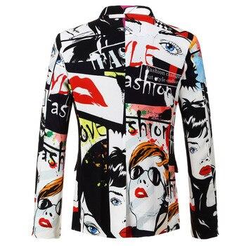 Print Blazer Hombre Hot Casual Men Blazer Jacket Slim Party Suit Jacket Men Luxury Fashion Trendy  Blazer Masculino BB50XZ