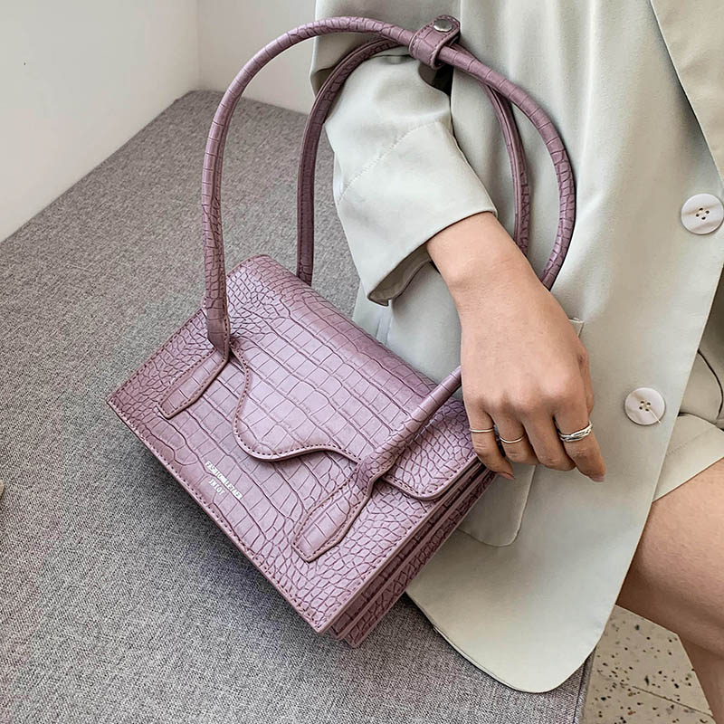 Stone Pattern Purple PU Leather Shoulder Bags For Women 2020 Simple Handbags Female  Fashion Hand Bag Lady Totes