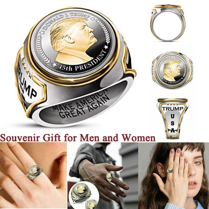 Кольца для мужчин, кольца с Президентом США Трампом, мужские украшения, аксессуары, память времени, лучший сувенир, подарок для мужчин и женщ...