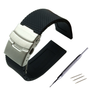 22mm Silicone Rubber Watch Band for Samsung Gear S3 Classic / Frontier Stainless Steel Buckle Strap Wrist Belt Bracelet + Tool 24mm silicone rubber watch band for sony smartwatch 2 sw2 dual brush 316l stainless steel buckle strap wrist belt bracelet black