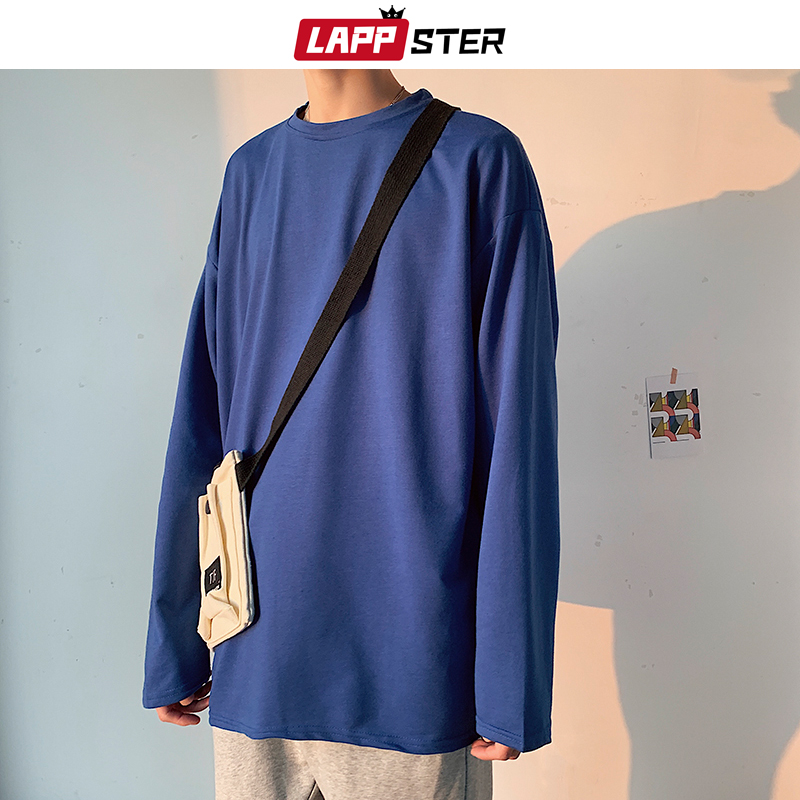 LAPPSTER Men Casual Basic T Shirt Long Sleeve 2020 Colorful Mens Oversized Harajuku T Shirts Male White Korean Fashions Clothes