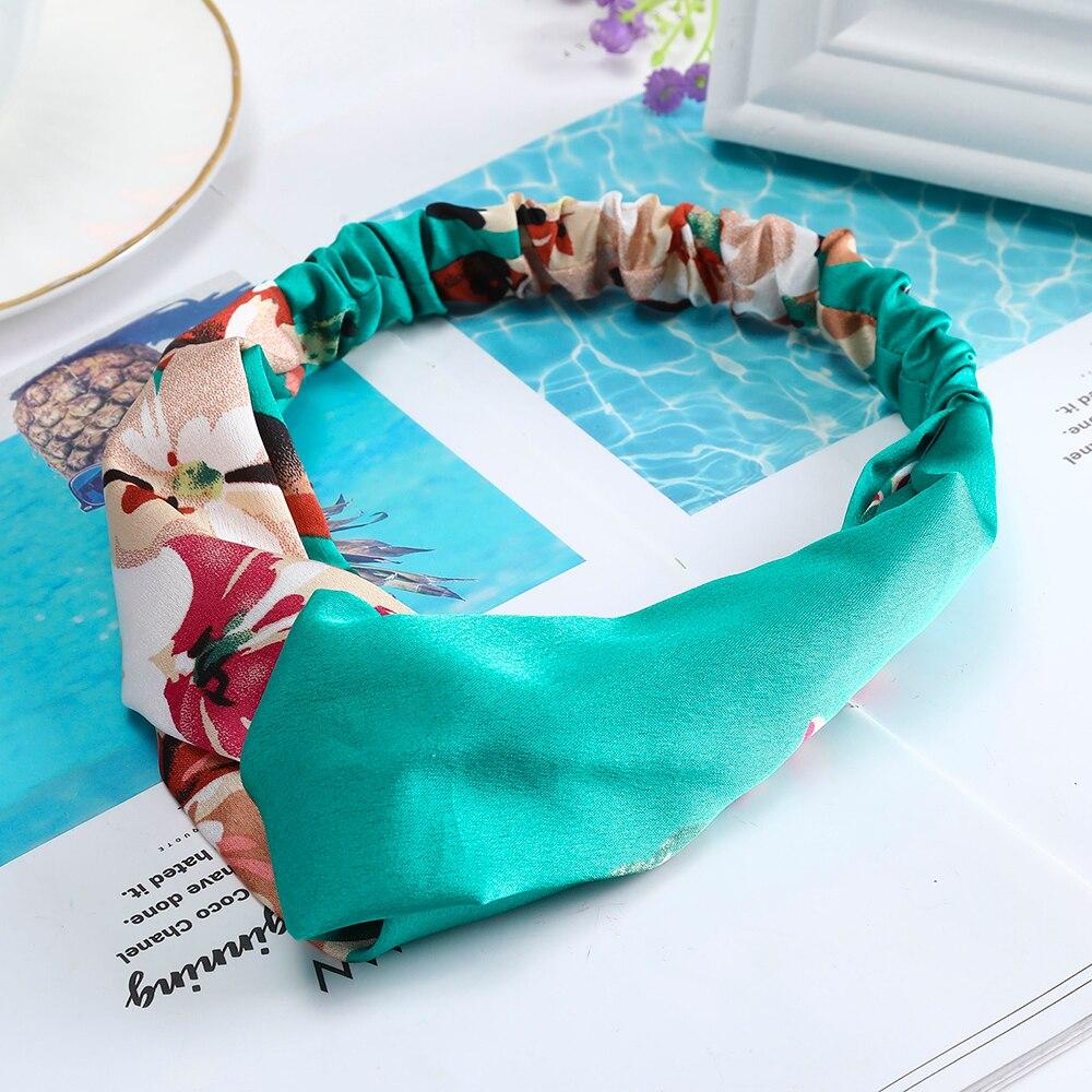 Levao Women Bohemian Florals Elastic Hair Bands Print Headbands Vintage Cross Turban Bandage Bandanas HairBands Hair Accessories