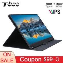 T bao Touch Screen Tragbare Monitor 1920x1080 HD IPS 15,6 zoll Display Monitor 8000mAh Wiederaufladbare batterie mit Leder Fall
