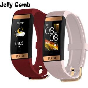Image 1 - Gelée peigne femmes montre intelligente hommes Bracelet IPS couleur écran moniteur de fréquence cardiaque pression artérielle dames Smartwatch pour IOS android