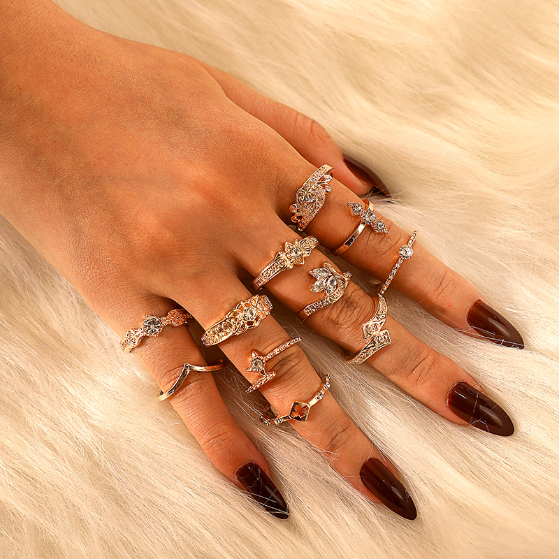 11 Pcs Set Boho Vintage Gold Flower Finger Ring Cubic Zircon Pattern Ring Set Lady Charm Costume Jewelry Accessories Midi Ring in Rings from Jewelry Accessories