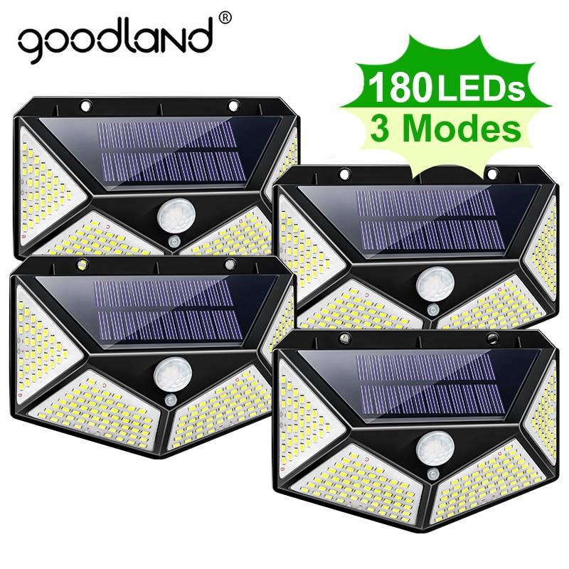 Goodland 180 100 LED lampa słoneczna zewnętrzna lampa solarna zasilana światłem słonecznym wodoodporna lampa z czujnikiem ruchu PIR do dekoracji ogrodu