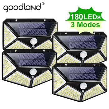 Goodland 180 100 LED lampa słoneczna zewnętrzna lampa solarna zasilana światłem słonecznym wodoodporna lampa z czujnikiem ruchu PIR do dekoracji ogrodu tanie i dobre opinie CN (pochodzenie) ROHS Outdoor LED Light 1 year Solar Light IP65 3 7 V Brak Żarówki LED Nowoczesne W nagłych wypadkach
