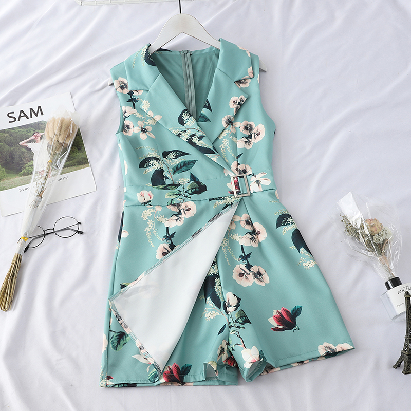 HELIAR 2020 Rompers Women Playsuits Lady Floral Printed Pumpsuits With Sashes Lapel Sleeveless Party Cloth Female Playsuit