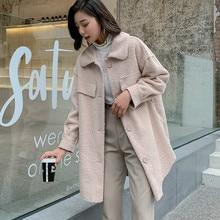 Autumn Winter Coats Women Woolen Coat Faux Lamb Wool Blends Turn Down Collar Cashmere Coats High Quality Loose Female Jackets цена в Москве и Питере