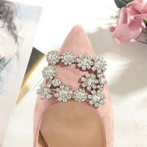 Image 5 - 2020 Shoes Woman 3.5cm High Heels Women Crystal Buckle Rhinestone Flock Point Toe Party Sandals Office Lady Dress Pump Plus Size