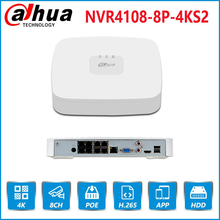 Dahua אנגלית מקורי 4K POE NVR NVR4108 8P 4KS2 עם 8ch PoE h.265 וידאו מקליט תמיכת ONVIF 2.4 SDK CGI עם לוגו