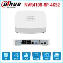 Dahua-NVR POE 4K con grabadora de vídeo, NVR4108-8P-4KS2 con 8 canales, PoE, h.265, compatible con ONVIF 2,4, SDK, CGI, con logotipo