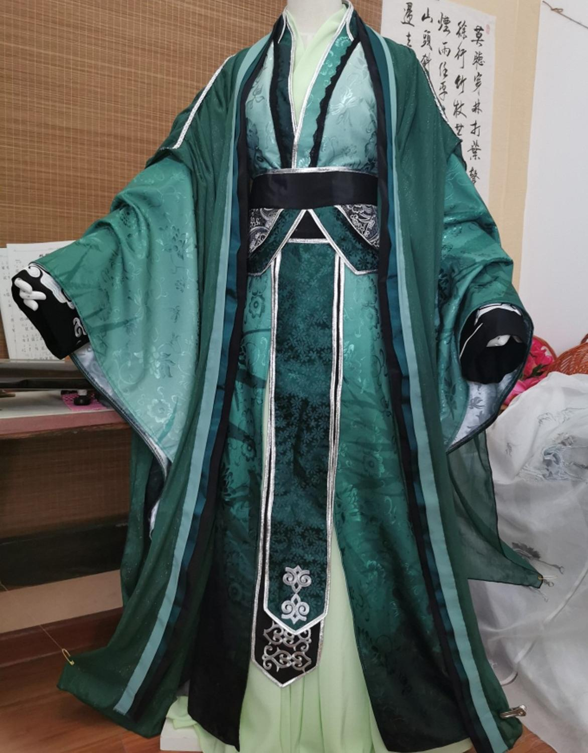 QiRong Peacock Green Embroidery Male Costume Hanfu Cos Shen Qingqiu For Anime Heaven Official's Blessing Tian Guan Ci Fu Cosplay