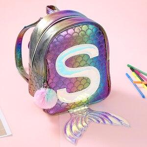 Image 1 - סימפוניה בת ים לייזר תרמיל 3D דגים בקנה מידה אישיות אופנה תרמיל חמוד ילדה ילד קריקטורה בית הספר קטן תיק GB17