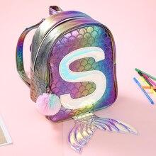 Sinfonia sereia laser mochila 3d peixe escala personalidade moda mochila bonito menina criança dos desenhos animados pequeno saco de escola gb17