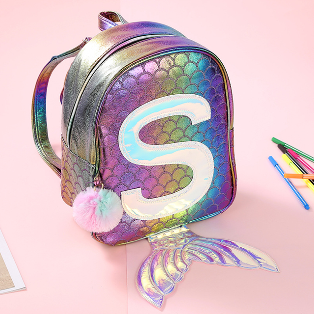 Symphony Mermaid Laser Backpack 3D Fish Scale Personality Fashion Backpack Cute Girl Child Cartoon Small School Bag GB17