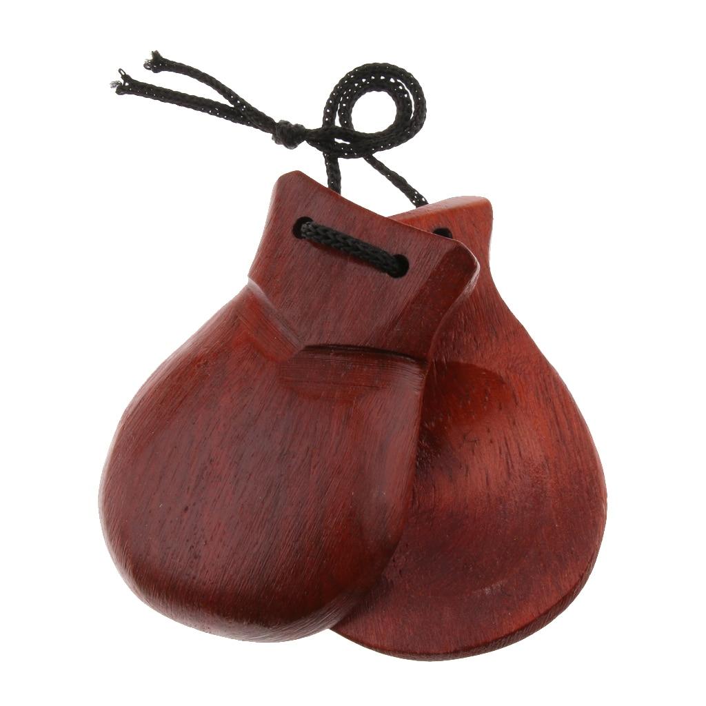Durable Wooden Clapper Castanet Hand Percussion Instrument Brown 8x5.5x2cm