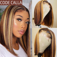Highlight Wig Ombre Brown Honey Blonde Short Bob Wig HD Lace Front Wig Pre Plucked Lace Wigs For Wom Human Hair Wigs 4x4 Closure