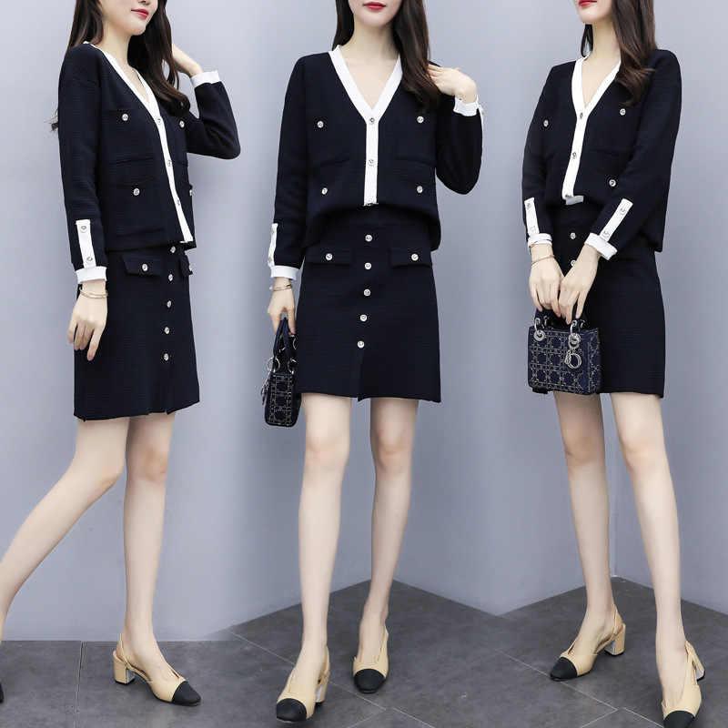 Винтажный новый стиль, женский длинный рукав, v-образный вырез, милый вязаный кардиган с пуговицами, топ + элегантная мини-юбка с карманами, костюм из 2 предметов